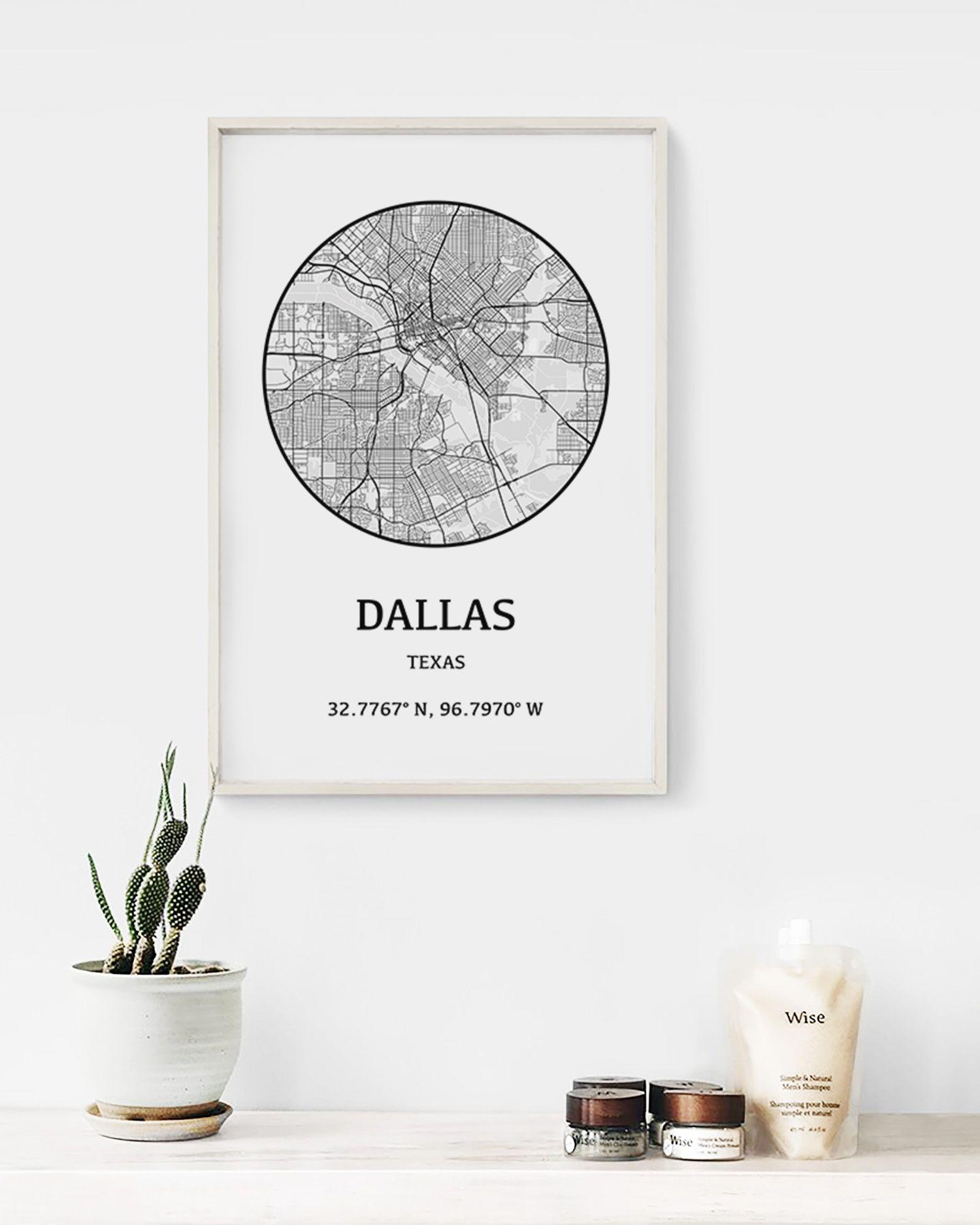 Dallas City Map Poster, Texas Travel Art Print | Cities and Circles ...