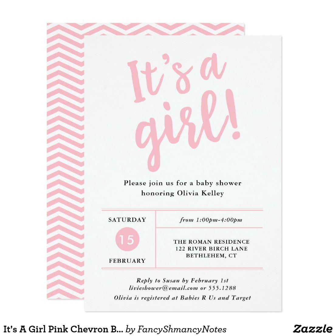 It\'s A Girl Pink Chevron Baby Shower Invitation | Chevron baby ...