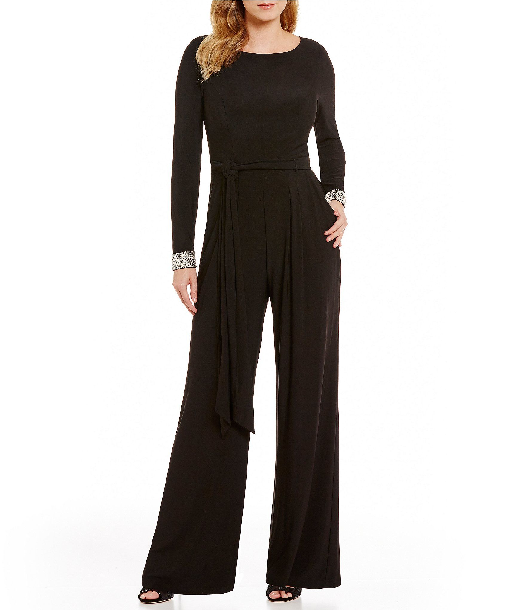 Vince Camuto Beaded Cuff Long Sleeve Jumpsuit Dillards Leadership