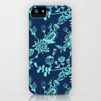 Mint on navy floral doodles.  iPhone & iPod Case by Tat Georgieva - $35.00