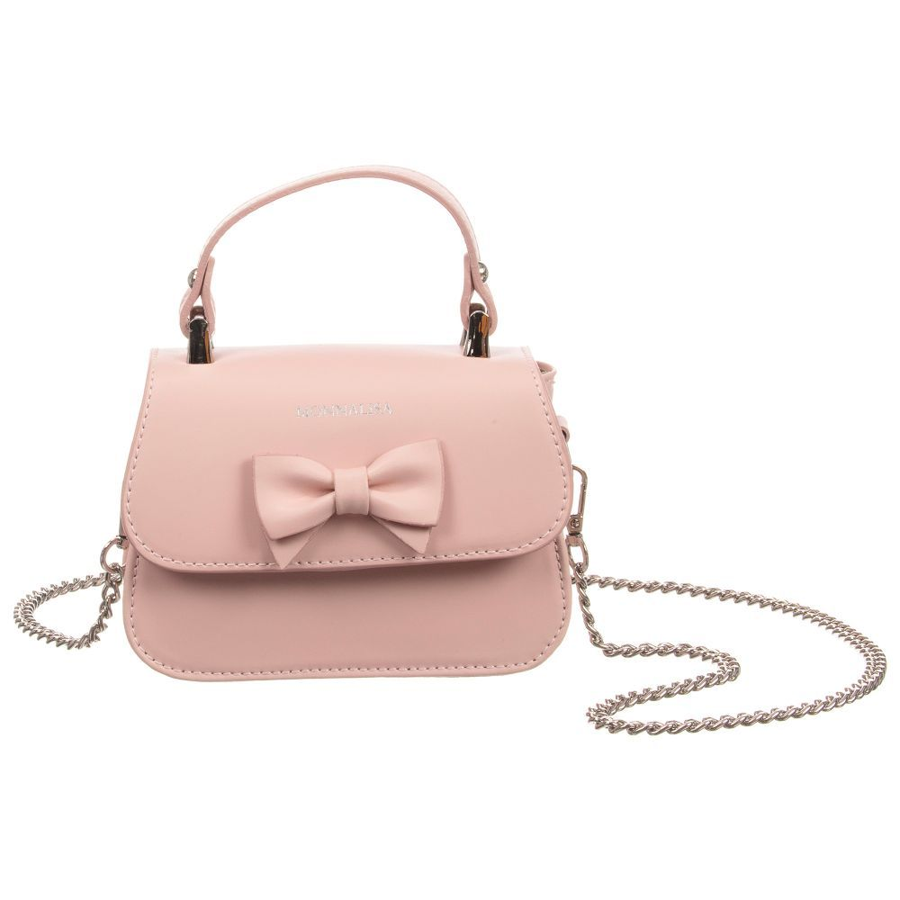 493ca61bc9 Girls pale pink bag by Monnalisa made from soft leather. It has a small  carry handle
