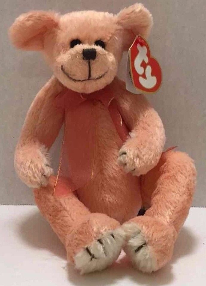 Vintage 1993 Ty Hayes Peachy Teddy Bear W Bow 8 Quot Plush Soft Stuffed Animal Toy Pet Toys Bear Bows Teddy Bear