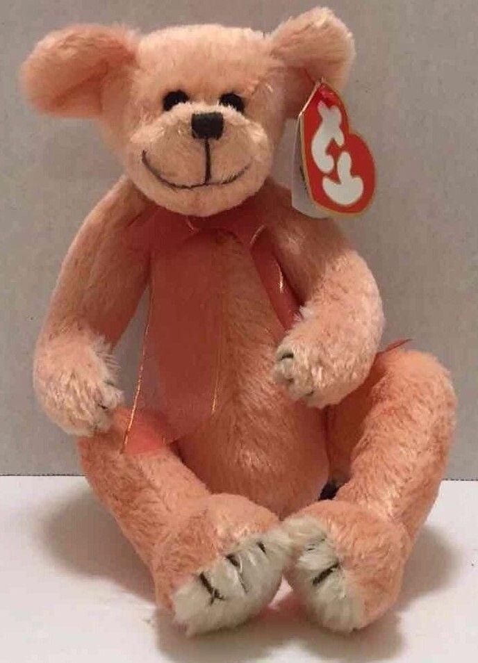 Vintage 1993 Ty Hayes Peachy Teddy Bear w  Bow 8