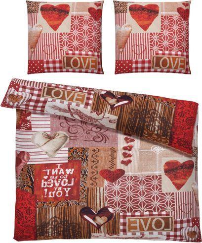 Bettwäsche aus 100% Baumwolle-Renforcé in der Farbe Rot mit Herzen. B/L: ca. 200/200cm und 2x80/80cm.