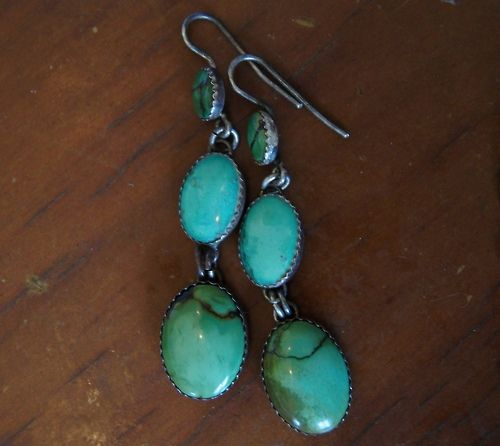 Green Turquoise Southwestern style earrings by Greg Thorne.