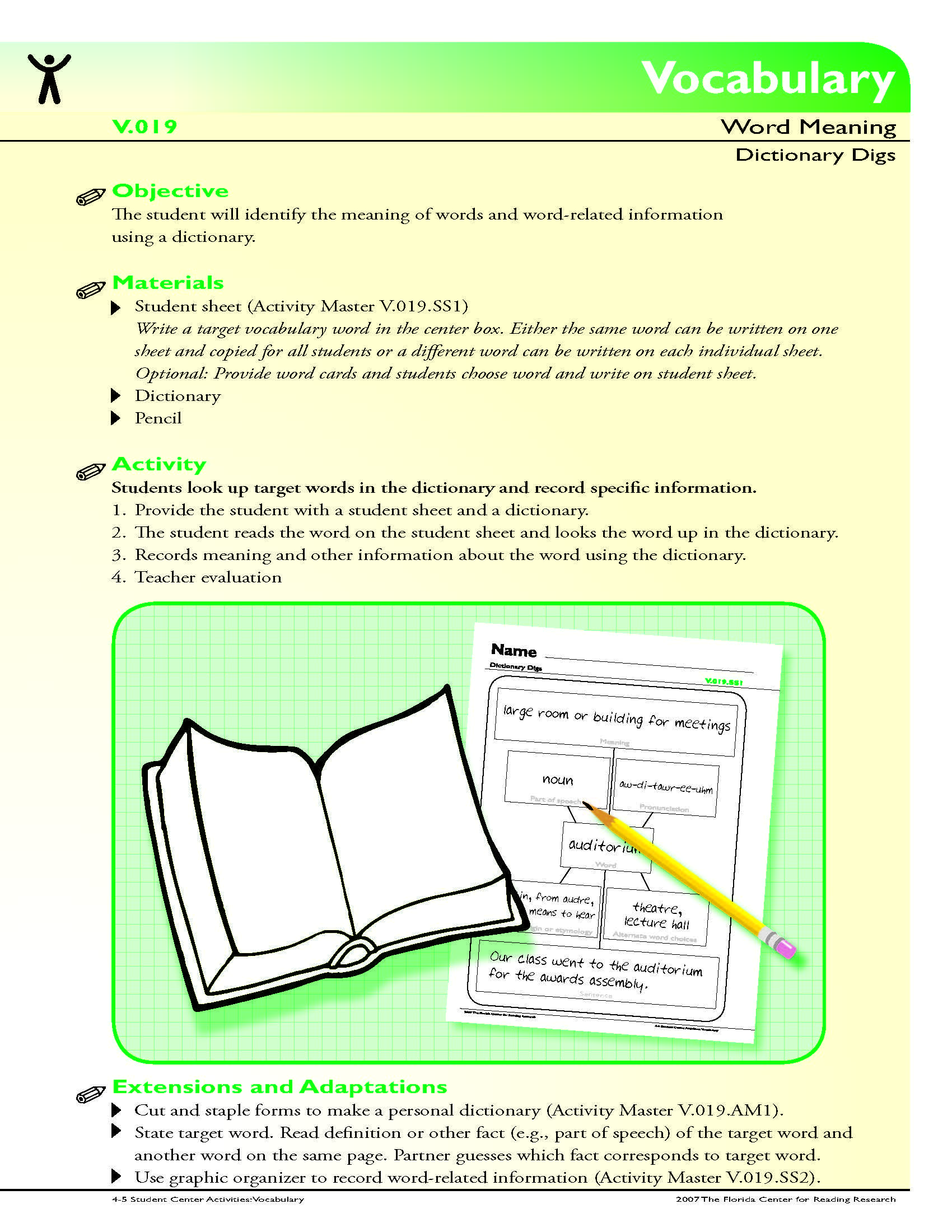 The Student Will Identify The Meaning Of Words And Word Related Information Using A Dictionary