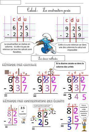 Calcul ce1 ce2 la soustraction pos e 2 m thodes blog de monsieur mathieu gs cp ce1 ce2 cm1 - Soustraction avec retenue cm1 ...