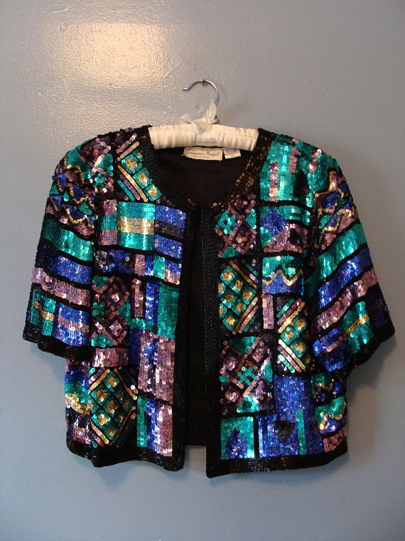 e1efba4b Vintage Sequin Jacket Top Short Sleeve Boxy Cropped Beaded Colorful ...