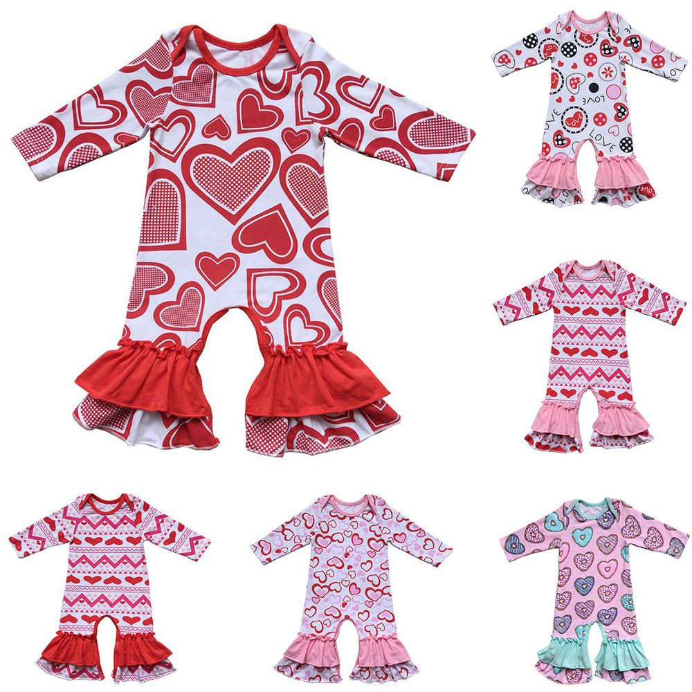 c920ef30f4aa Toddler Baby Girl Ruffle Jumpsuit Pants Long Sleeve Pajamas for Valentine  Easter  fashion  clothing