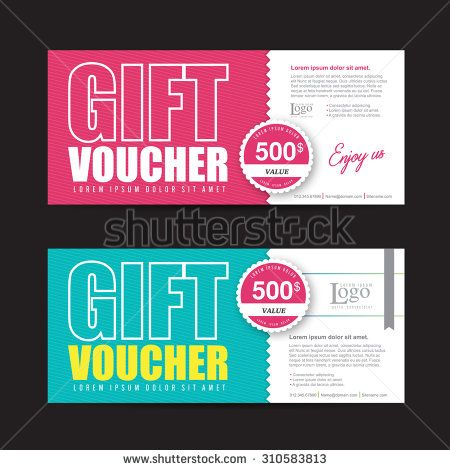 Vector illustration,Gift voucher template with colorful pattern - cute gift certificate template