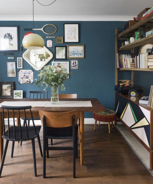 Eclectic Blue Dining Room With Teak Table And Mismatched Chairs