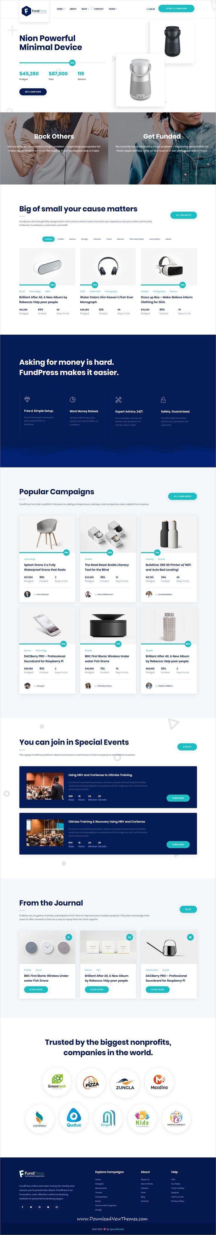 FundPress - Crowdfunding Startup Fundraising HTML5 Template