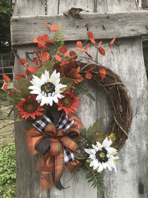 Photo of Autumn white and orange sunflower wreath for the front door, autumn pumpkin flower vine wreath for the door, thankful wreath for the front door,