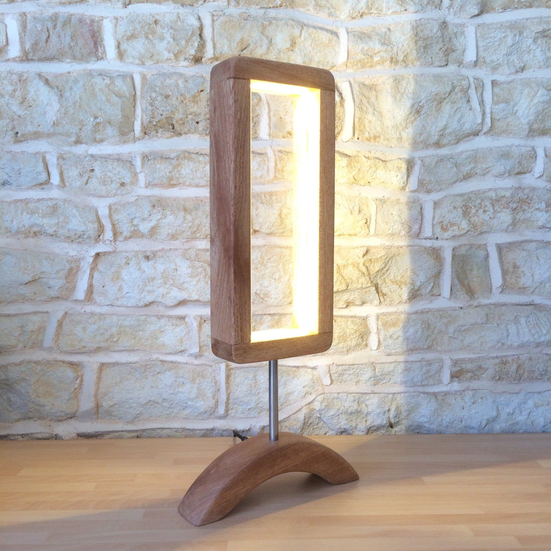 Hand Crafted Designer Table Lamp Wooden Desk Light Unusual Modern Minimalist Open Design Abstract Led Wooden Desk Lighting Wooden Table Lamps Handcrafted Lamp