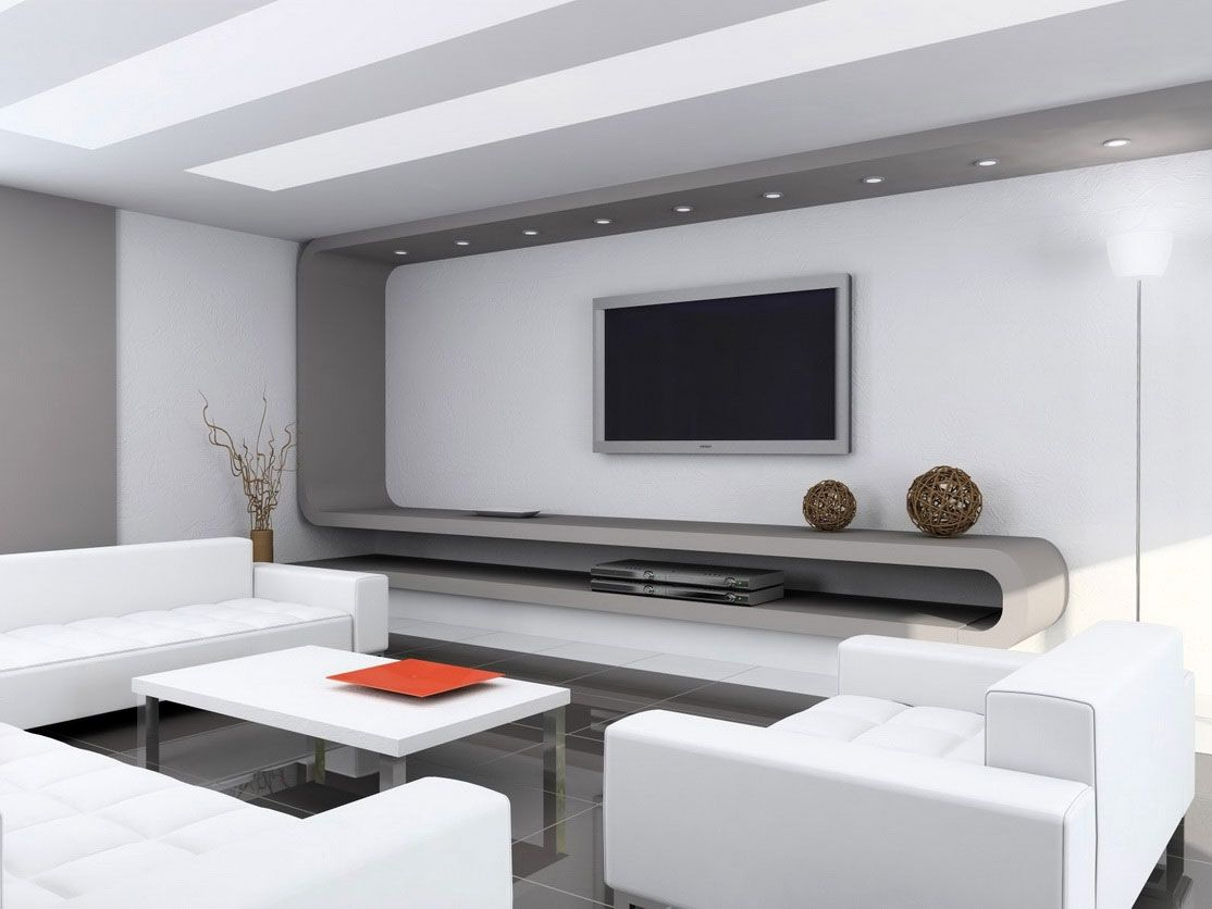 Remarkable Small Modern Living Room Design Idea With Gray Wall Accent,  White Sofas, And White Coffee Table