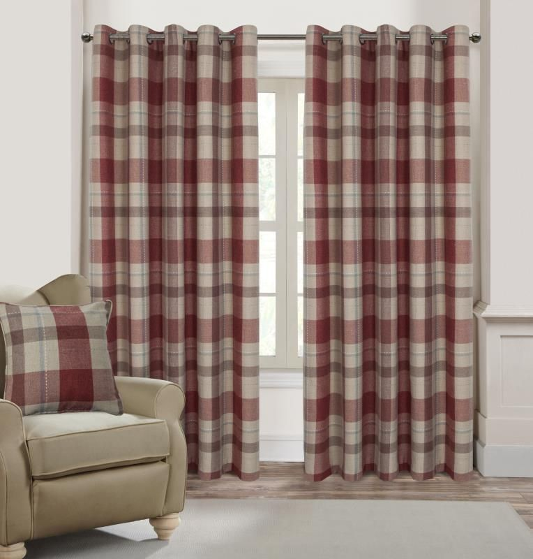 Alexandra Cole Check Plaid Textured Curtain For Bedroom Window Curtain Panels Set Of 2 54 6 Curtains Living Room Red Curtains Living Room Red And Grey Curtains