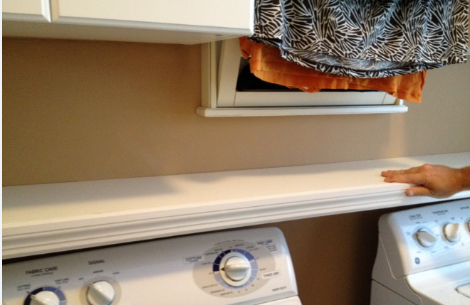 Laundry room update over the washer dryer shelf i need for Laundry room shelf over washer dryer