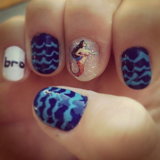 Miami Nailart With Bro Ocean Nails And A Sirena Loteria Accent