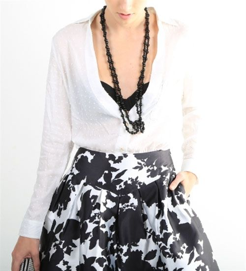 Lovely ensemble - #skirt, #tunic and #necklace. #Fashion  www.carafina.us  Get this #outfit under $99