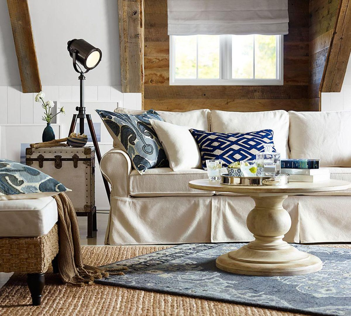 Pottery Barn Living Room With Carpet And Decorative Plant: Photographer's Tripod Floor Lamp