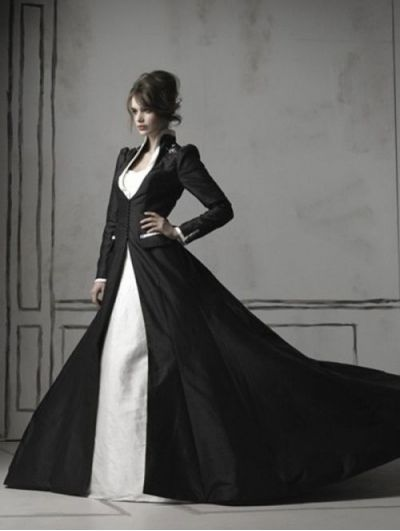 Black and White Long Sleeves Gothic Wedding Dress coat Could wear