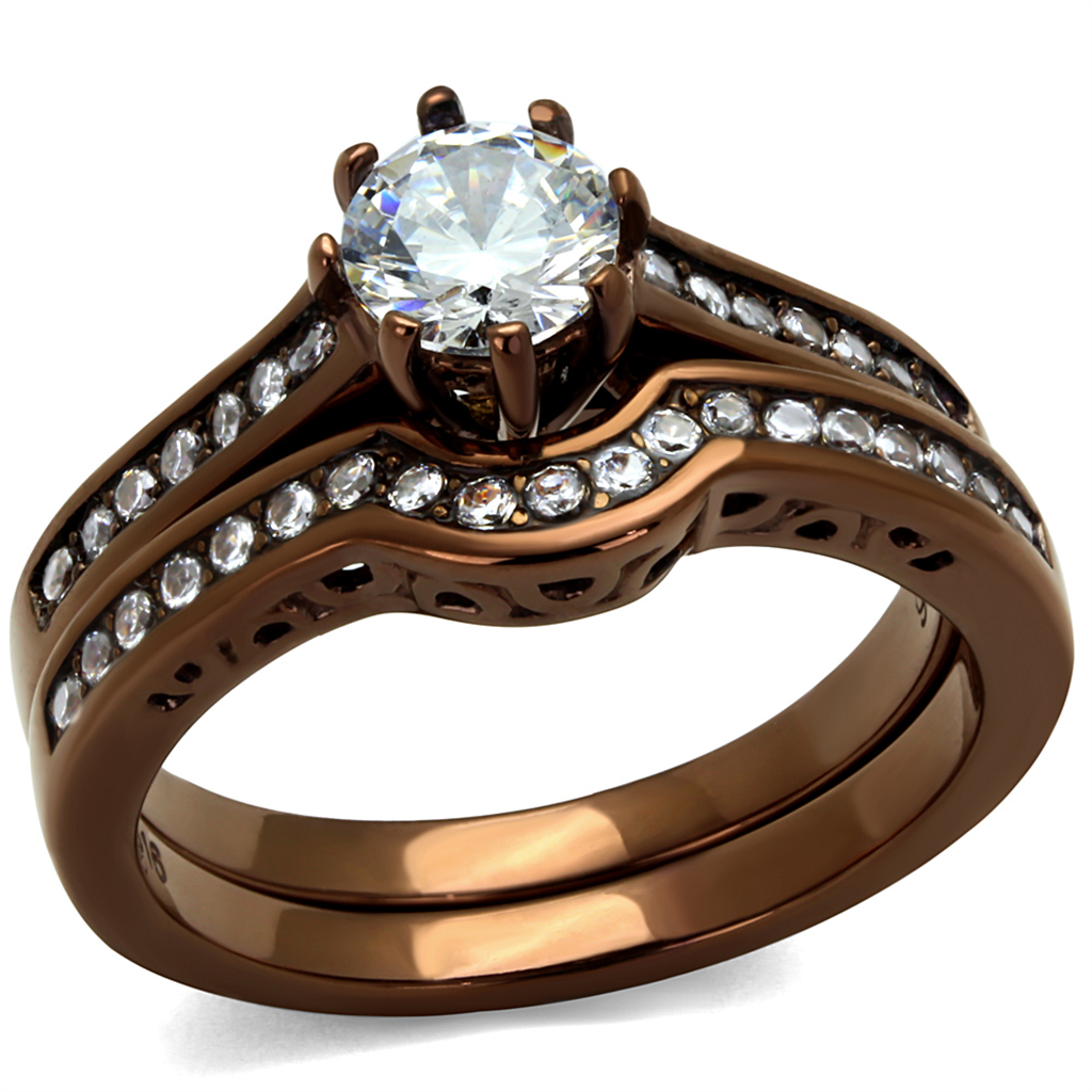 Light Coffee Ion Plated Stainless Steel Clear AAA CZ Womens Wedding Ring Set