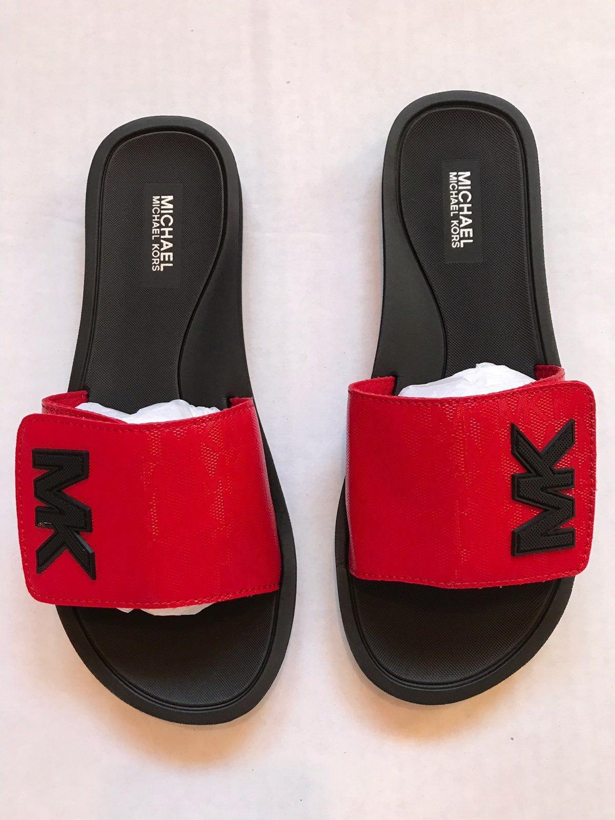red mk slides michael kors on sale