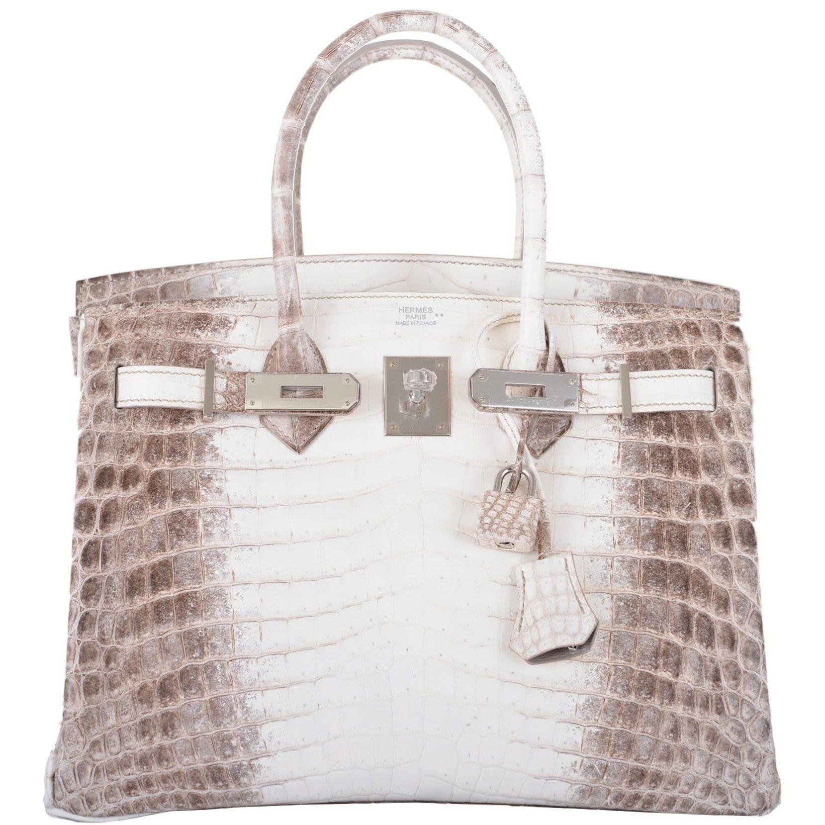 Hermes Birkin Bag Himalayan White Crocodile