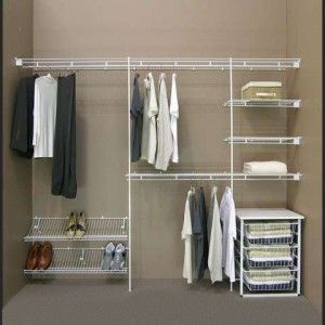 Delicieux Simple Dressing Room With Closetmaid Shelving System Ideal, White Wire  Closet Shelves Ideas, And 3 White Wire Closet Storage Basket
