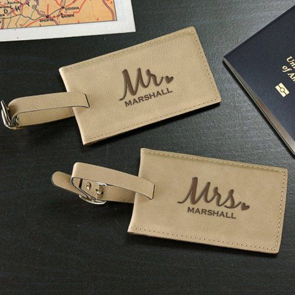 GiftsForYouNow Monogram Leather Luggage Tag