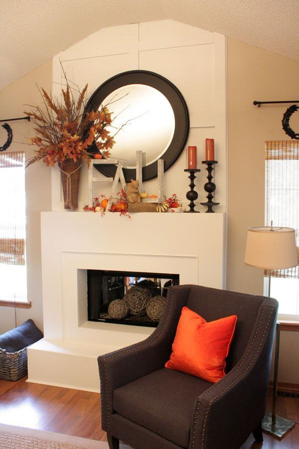 Like the brown chair/orange pillow Ten Best Fall Mantel Decorating Ideas