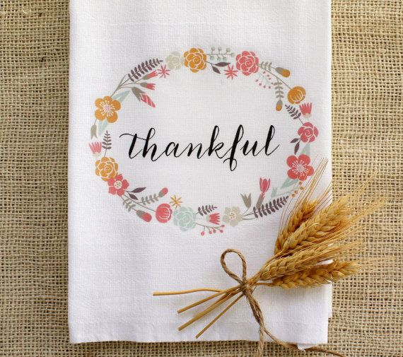 Thankful Tea Towel Thanksgiving Autumn Fall Harvest By Applewhite Rhpinterest: Thanksgiving Kitchen Towels At Home Improvement Advice