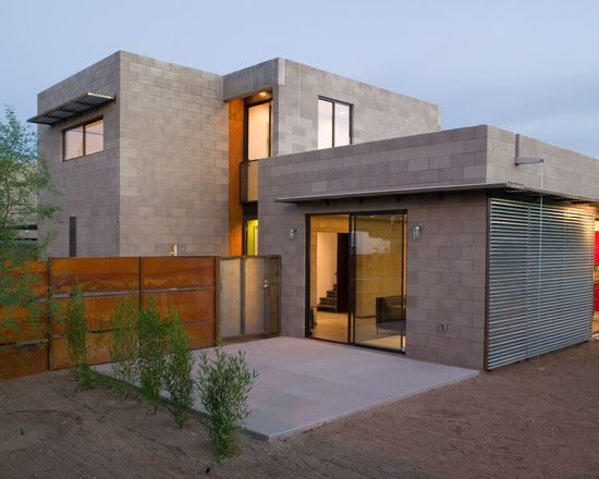 Wonderful concrete block house with modern design for Concrete block homes