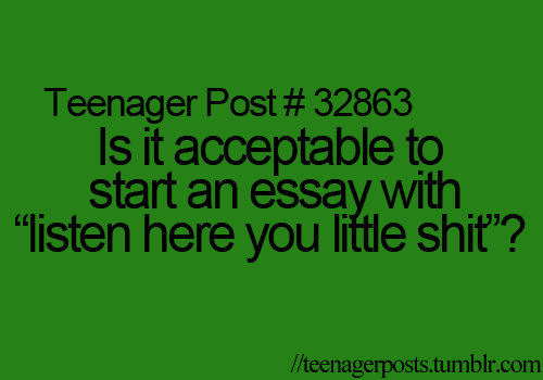 """Is it acceptable to start an essay with """"listen here you little shit""""?"""