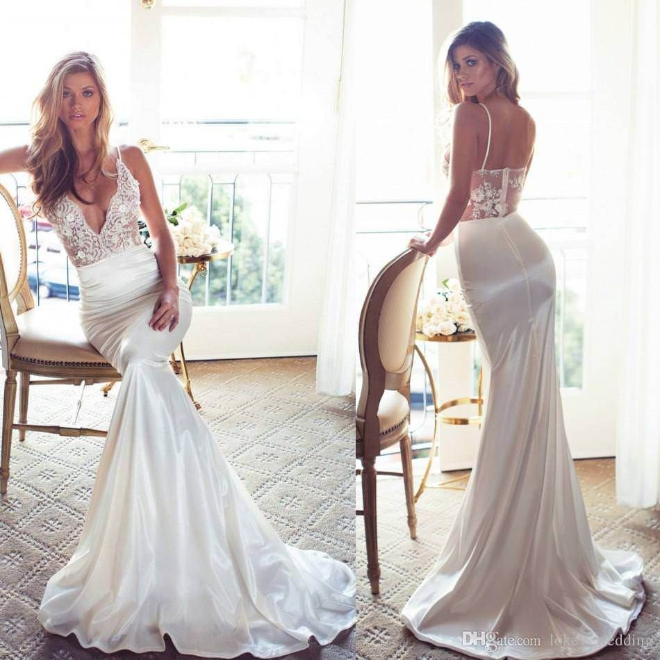 Spaghetti strap mermaid wedding dress  Sexy Spaghetti Straps Mermaid Wedding Dresses V Neck Low Back Lace