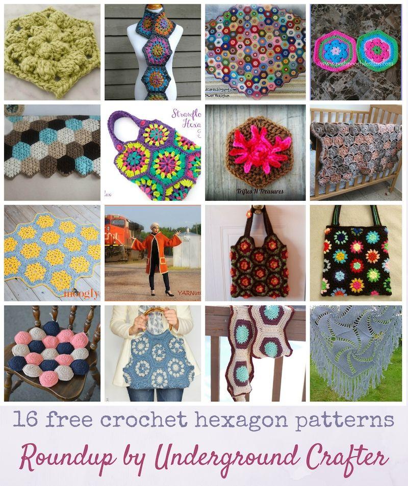 Roundup: 16 free crochet hexagon patterns via Underground Crafter ...