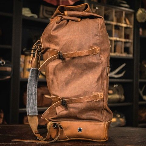 ec4fccfbb1 Yosemite Vintage Military Duffle Backpack Bag - Waxed Canvas   Leather - Tan
