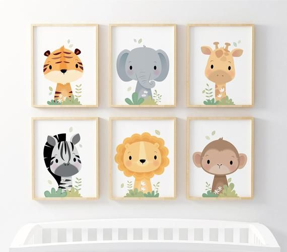 Nursery Wall Art Gift For Kids Unique Nursery Decor Nursery Prints Safari Nursery Animal Nursery Jungle Animals Neutral Baby Gift In 2020 Unique Nursery Decor Safari Nursery Wall Art Nursery Wall Art