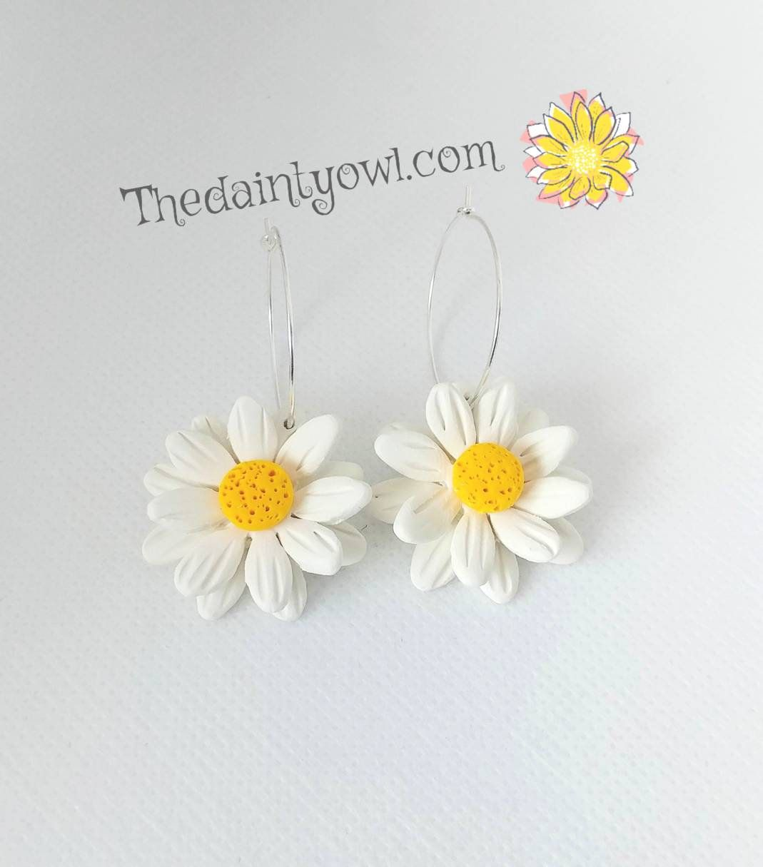 Polymer Clay Earrings Spring Daisy