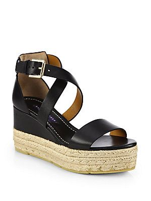 Ralph Lauren Collection Leather Espadrille Wedges cheap largest supplier EaIVA1F