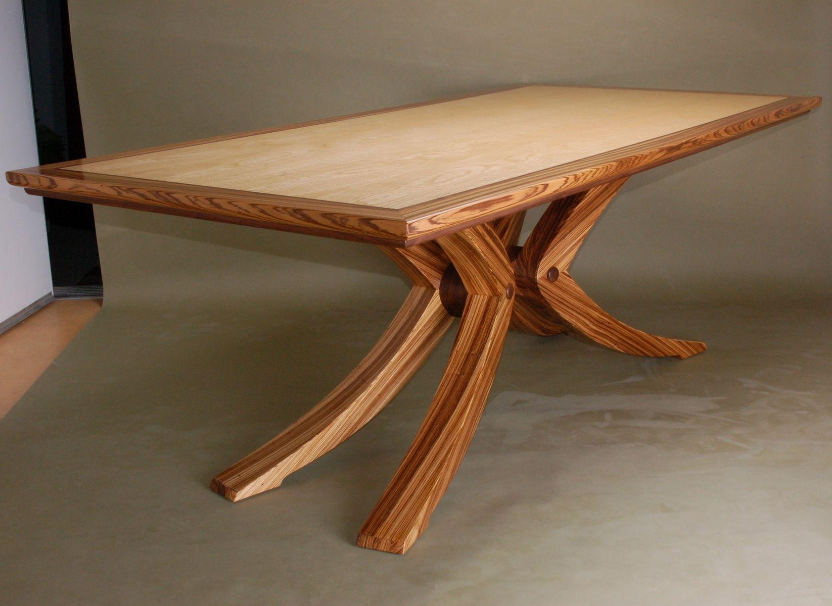 Beautiful Custom Made Zebrawood Dining Table