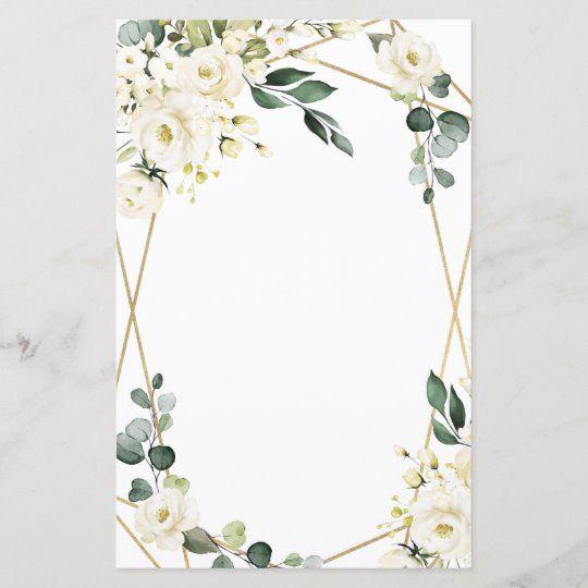 Elegant Gold Geometric Floral Wedding Menu Cards   Zazzle.com