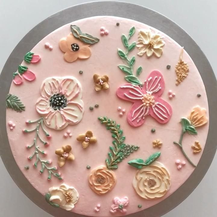 Buttercream Floral Pattern Cake