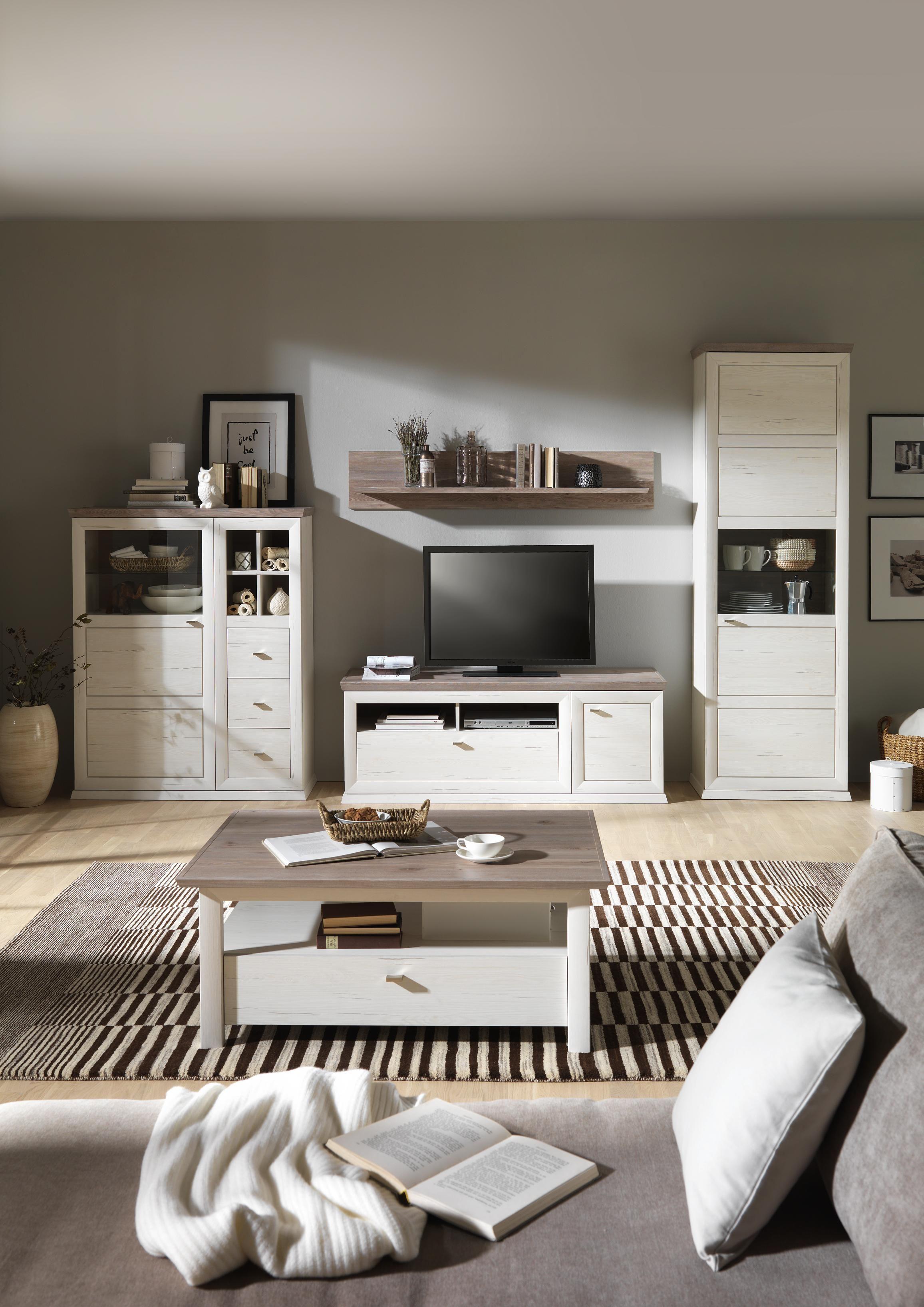 WOHNWAND in Grau Kieferfarben in 2019  Wohnwnde  Landhausstil wohnzimmer