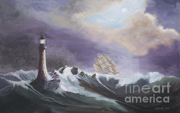 Eddystone Lighthouse By Jerry Mcelroy In 2020 Lighthouse Painting Lighthouse Coastal Pictures