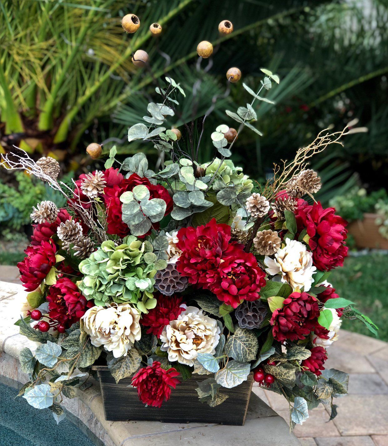 Barrel Topper Floral Arrangement, Wedding Venue Floral