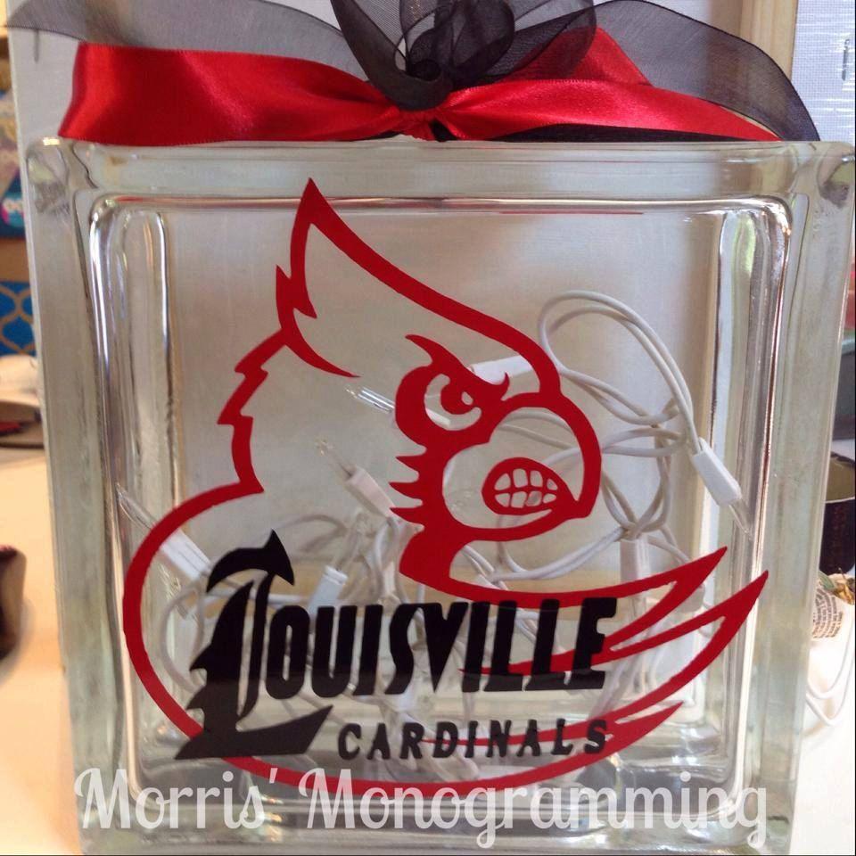 University Of Louisville Glass Block By Morrismonogramming On Etsy