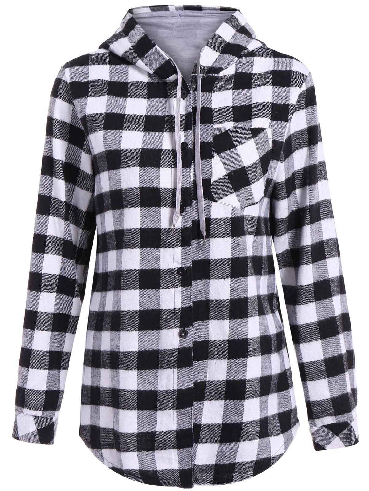 Plus size flannel shirt dress  Hooded Long Sleeve Plaid Shirt  BLOUSES u LONG SLEEVES  Pinterest