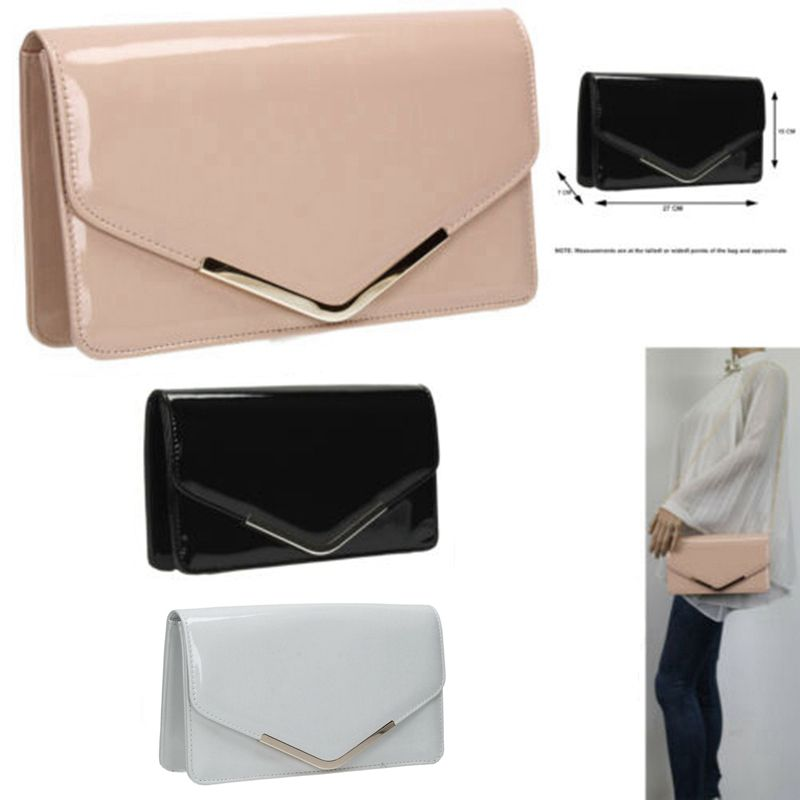 Plain Suede Wedding Ladies Party Prom Envelop Evening Clutch Hand Bag Purse