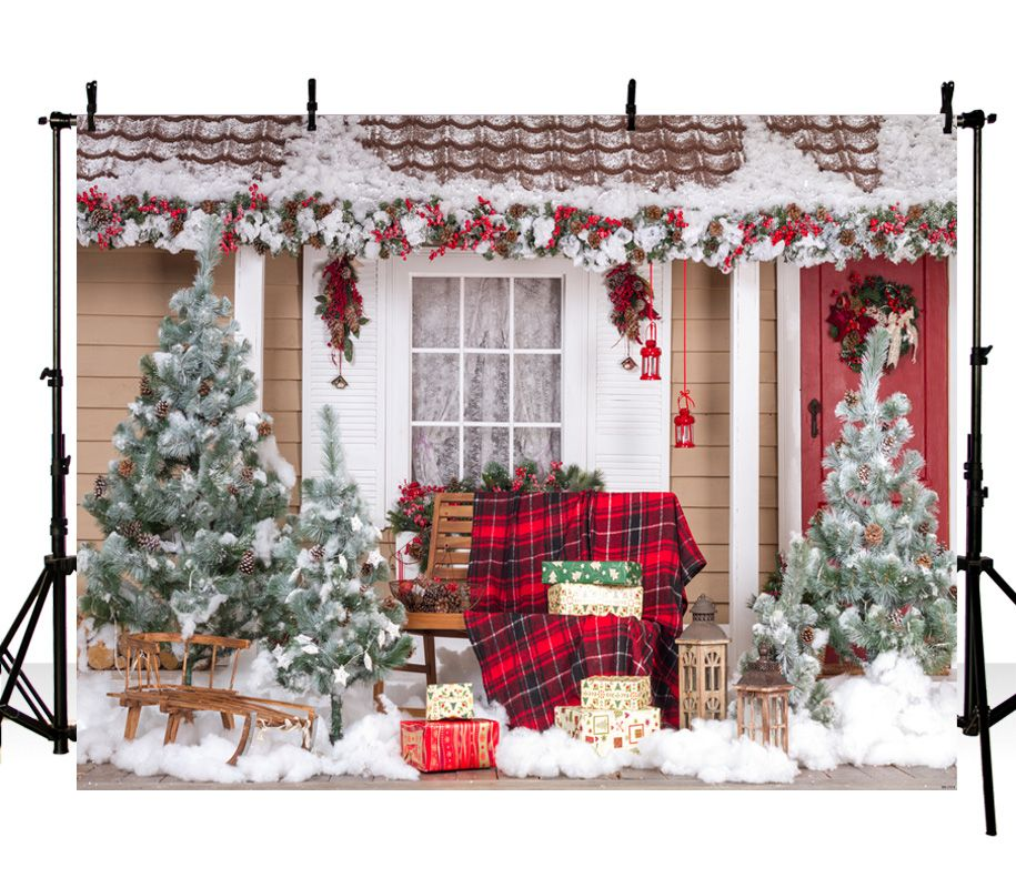 best christmas backdrop vinyl photography background chirstams tree winter house bell wreath children photo backgrounds zh